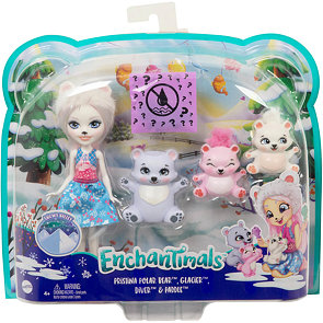 Enchantimals panenka Pristina Polar Bear s rodinkou